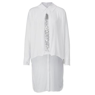 Cotton Candy Bluse, Pailletten, 2-in-1-Look, Knopfleiste hinten, leger geschnitten