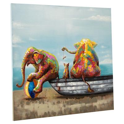 miaVILLA Bild Babyelefanten, handgemalt, ca. 100 x 100 cm