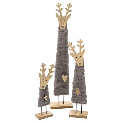 miaVILLA Dekofiguren-Set, 3-tlg. Deer, weihnachtlich