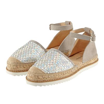 Cute Couture Slipper, Metallic-Optik, Materialmix, Flechtung