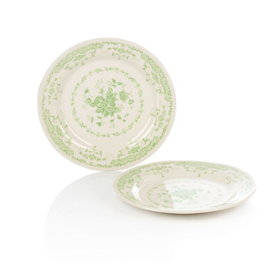 Bitossi Dessertteller-Set, 2-tlg., Blumendekor, Vintage-Look