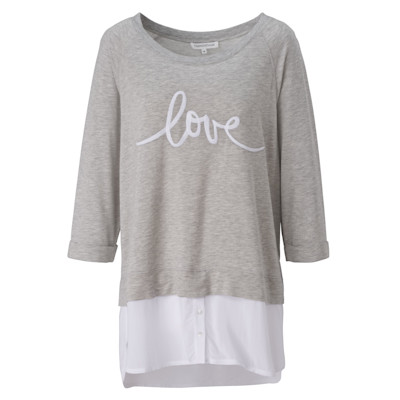 "Tramontana 2in1-Shirt, ""love""-Stickerei, 2-in-1-Look, Blusensaum, leger"