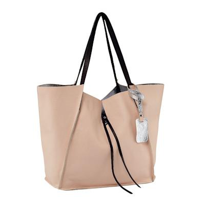 Cute Couture Wendeshopper, Metallicoptik, klassisch, genarbtes Leder
