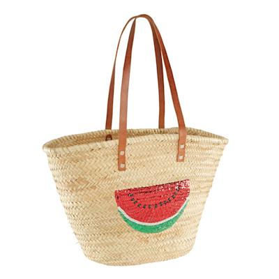 BUCKLE UP Korbtasche, paillettengestickte Wassermelone, Lederriemen