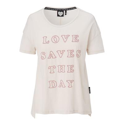 """CATWALK JUNKIE T-Shirt, """"Love saves the day""""-Stickerei, offene Kanten, leger geschnitten, Used-Look"""