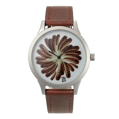 24seven Armbanduhr, Federmotiv, Edelstahl, Leder
