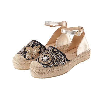 Cute Couture Slipper, Metallic-Optik, Pailettenbesatz, Riemen, Boho-Style