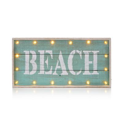"IMPRESSIONEN living Beleuchtetes Bild, Schriftzug ""Beach"", Lattenoptik, Shabby Chic, Holz"