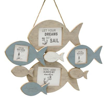 Bilderrahmen Fische, Für 4 Bilder, Maritimer Look, Holz