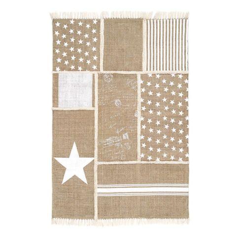 teppich sternen und streifenprint patchwork look. Black Bedroom Furniture Sets. Home Design Ideas