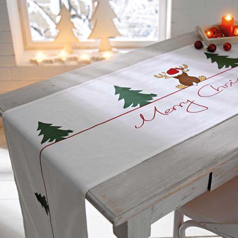 tischl ufer weihnachts elch schriftzug merry christmas tischdeko gedeckter tisch haushalt. Black Bedroom Furniture Sets. Home Design Ideas