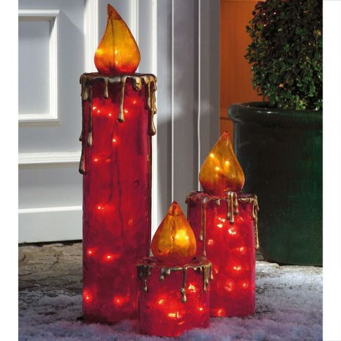 maxi kerzen set 3 tlg beleuchtet outdoorgeeignet kunststoff weihnachtsbeleuchtung. Black Bedroom Furniture Sets. Home Design Ideas