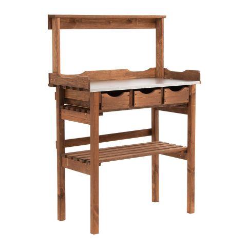 pflanztisch verzinkte metall arbeitsfl che mit drei schubf chern kiefernholz ge lt aus polen. Black Bedroom Furniture Sets. Home Design Ideas