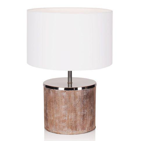 tischleuchte baumwollschirm holzfu mit chromabdeckung. Black Bedroom Furniture Sets. Home Design Ideas