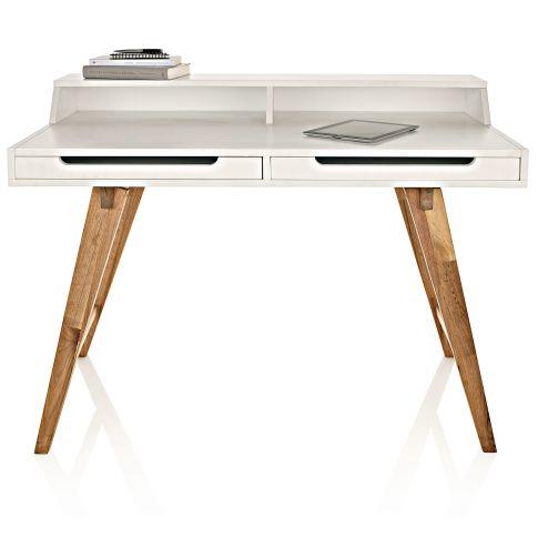 sekret r zwei schubladen schr ge beine retro look walnussbaumholz mdf schreibtisch. Black Bedroom Furniture Sets. Home Design Ideas