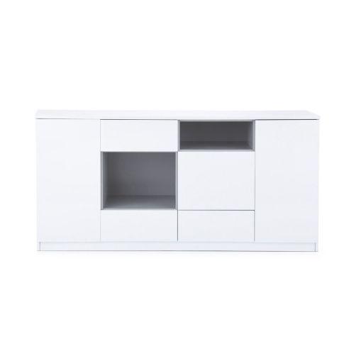 kommode drei t ren drei schubladen drei offene f cher hochglanzoptik mdf kommoden m bel. Black Bedroom Furniture Sets. Home Design Ideas