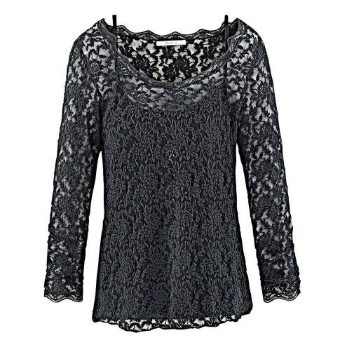 langarmshirt transparente spitze mit jerseytop. Black Bedroom Furniture Sets. Home Design Ideas