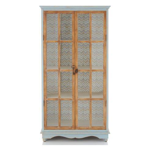 vitrinenschrank chevron print shabby chic schr nke m bel wohnen. Black Bedroom Furniture Sets. Home Design Ideas
