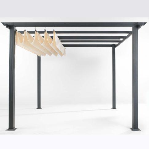 Design#5001519: Design-pergola, pulverbeschichtetes aluminium, dach: 100% polyester. Gartenpavillon Aus Aluminium