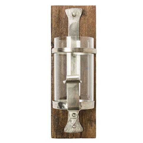 """wand-kerzenhalter """"wood"""", eisen, holz, glas,"""