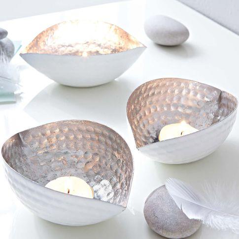 Teelichthalter ellipse silber weiß katalogbild