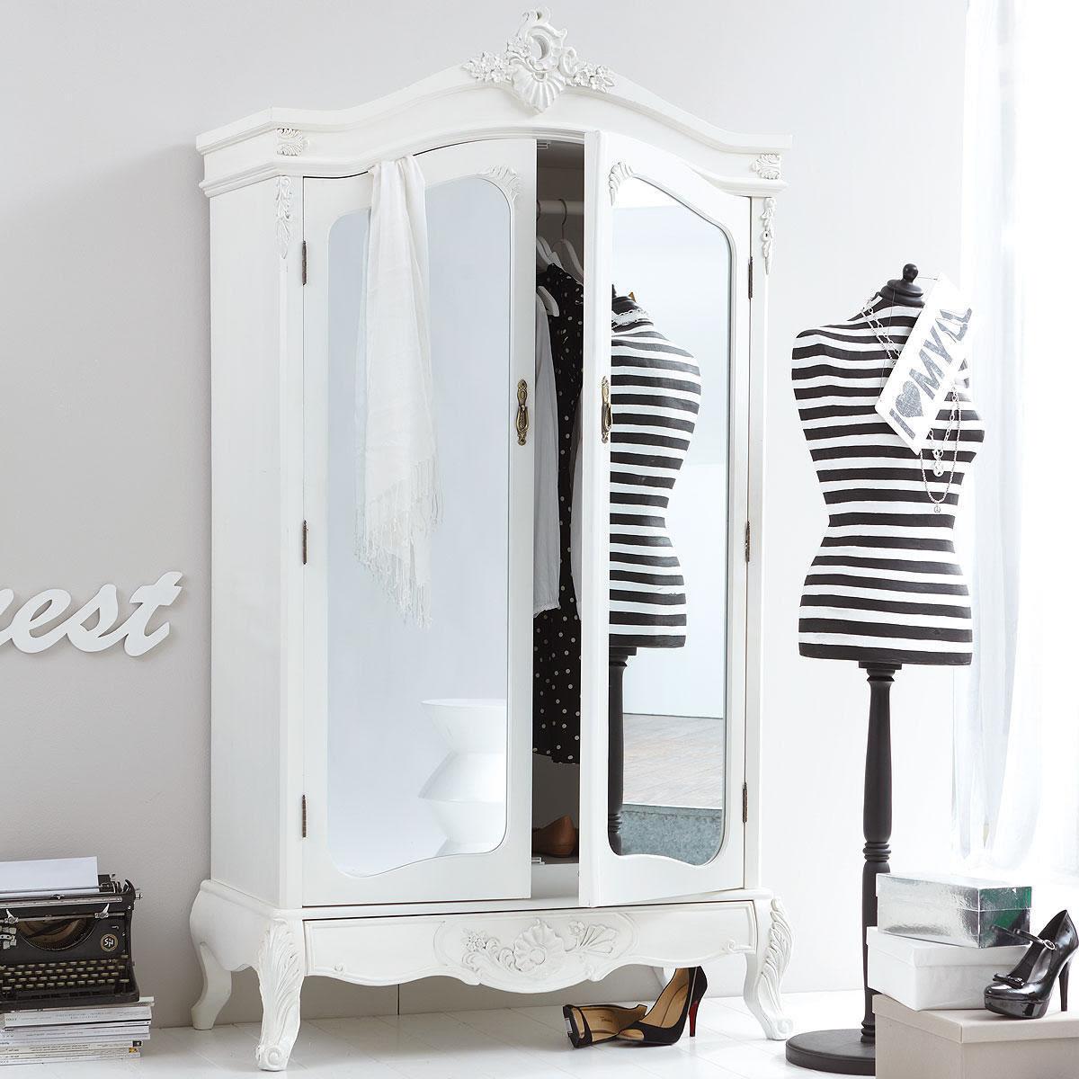 Kleiderschrank weiß barock  Kleiderschrank, Barock-Stil, Kleiderstange, MDF, Tannenholz