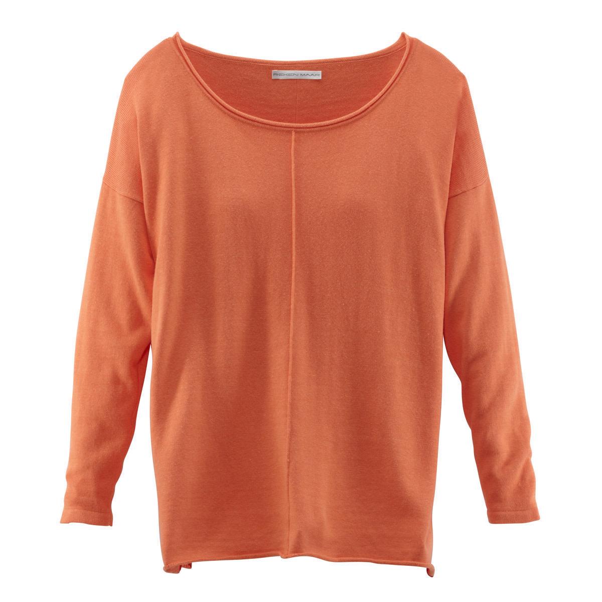 Pullover, überschnittende Schultern, gerollte Saumkanten, Feinstrick