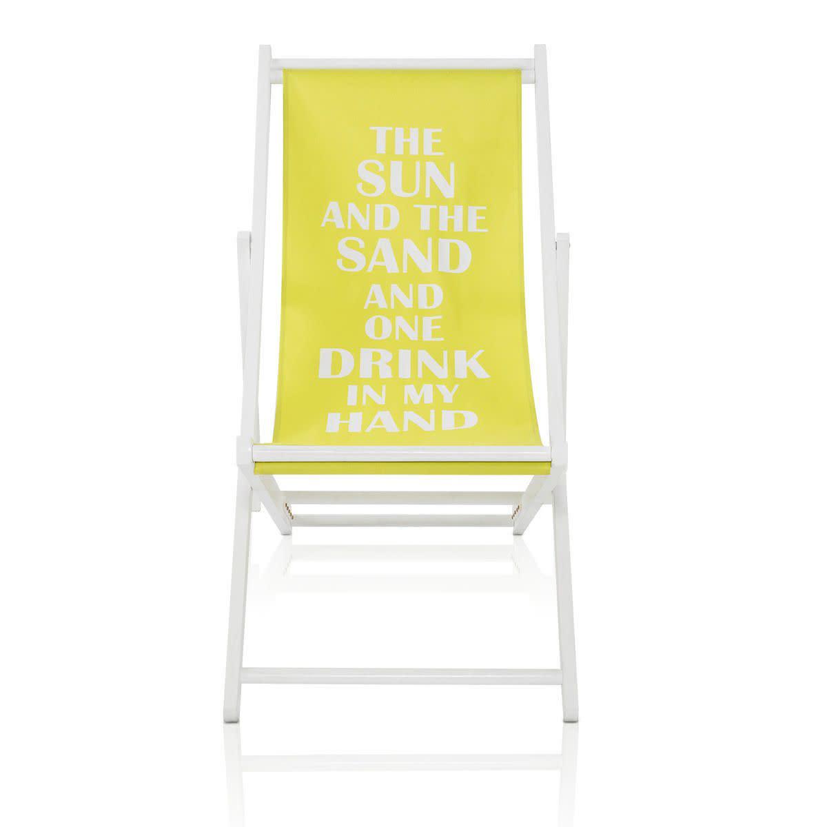Outdoor-Liegestuhl, bedruckt, zusammenklappbar, Tannenholz, Polyester (Impressionen)