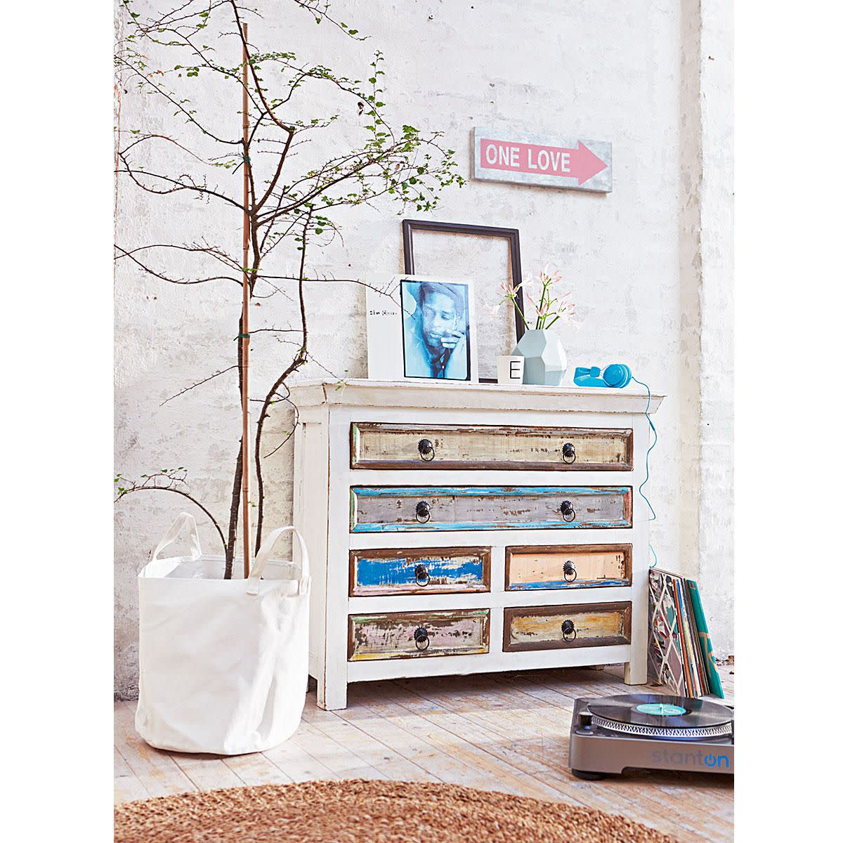 Kommode Antik- Finish Shabby Chic Mangoholz