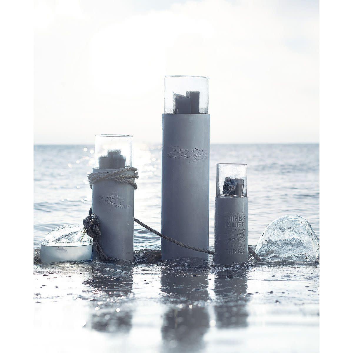 Windlichtsäule, Zement, Glas (Impressionen)
