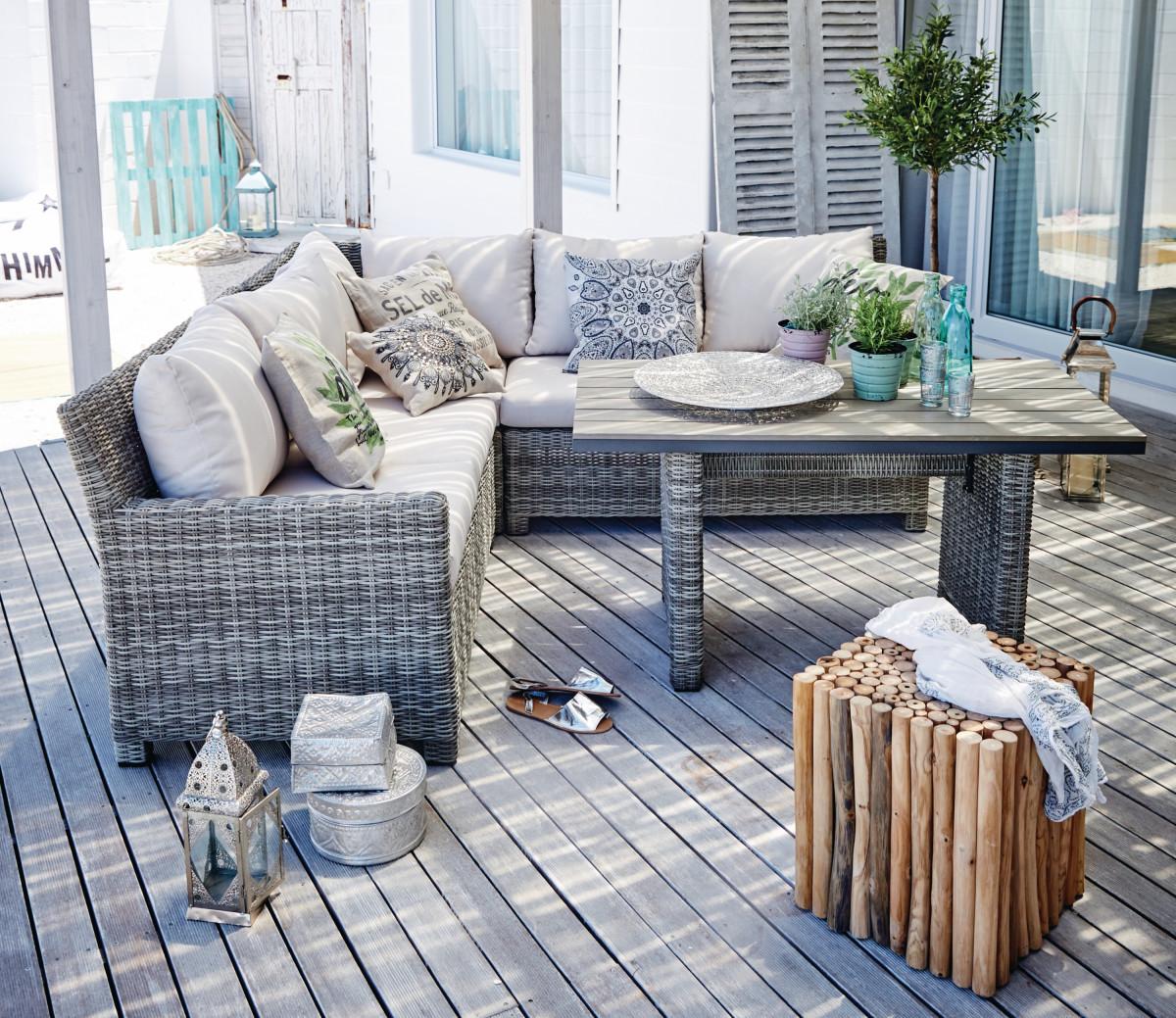 Outdoor-Esstisch, Kunststoffrattan, Aluminium