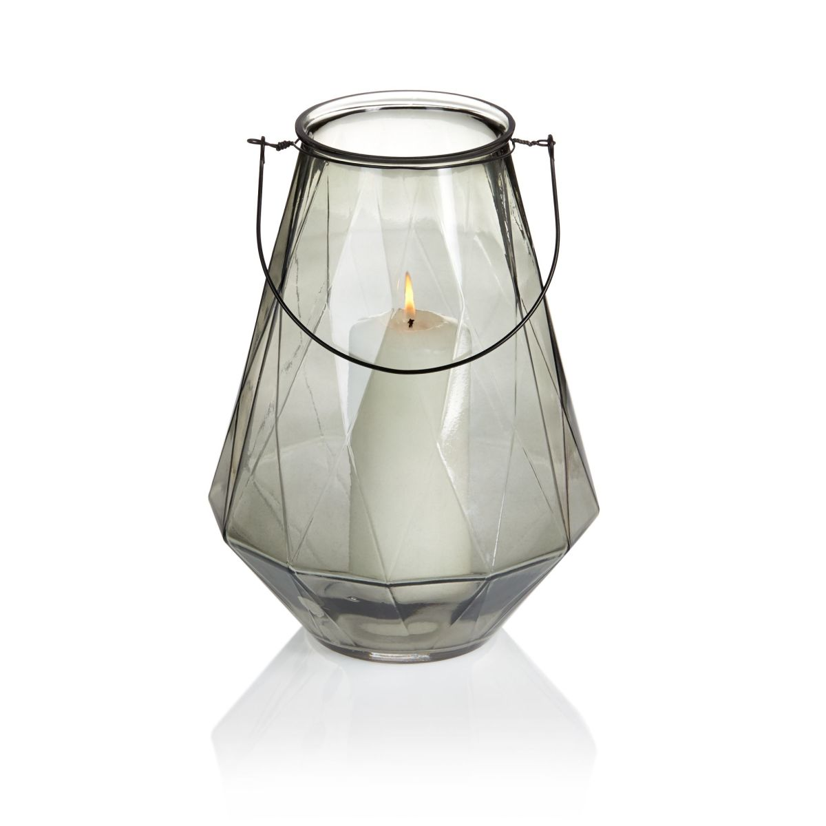 Windlicht, bauchig, gefärbtes Glas