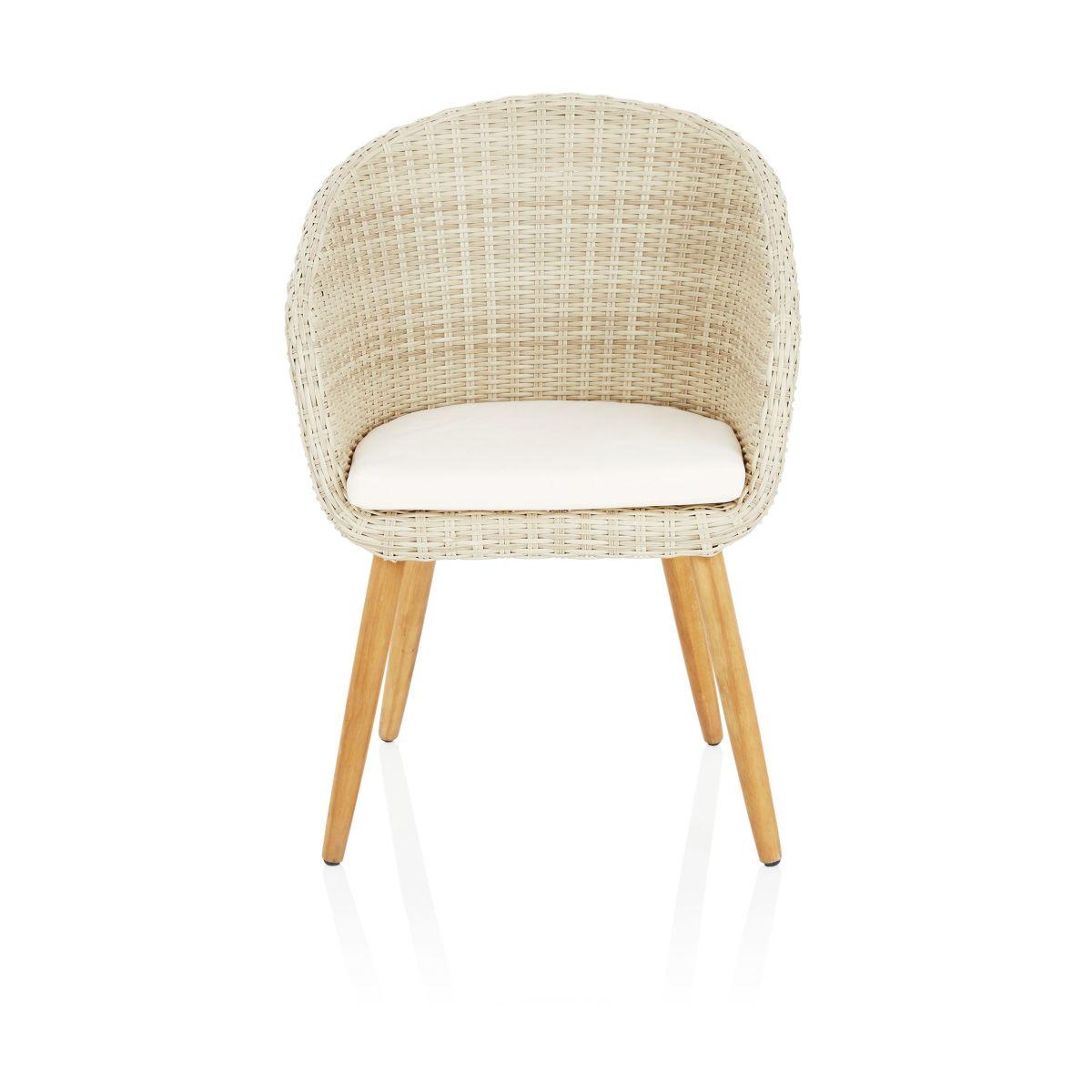 Outdoor-Armlehnstuhl, inkl. Sitzkissen, modern, Kunststoffrattan, Akazie massiv (Impressionen)
