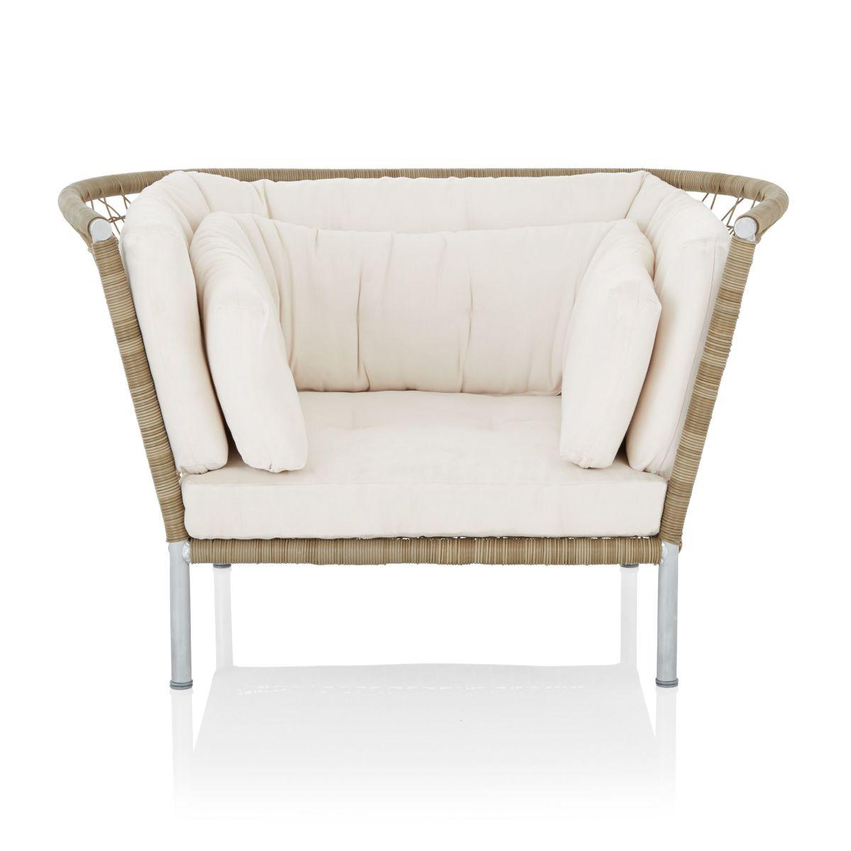 Outdoor-Sessel, inkl. Kissen, modern, Stahl, Kunststoffgeflecht, Polyester (Impressionen)