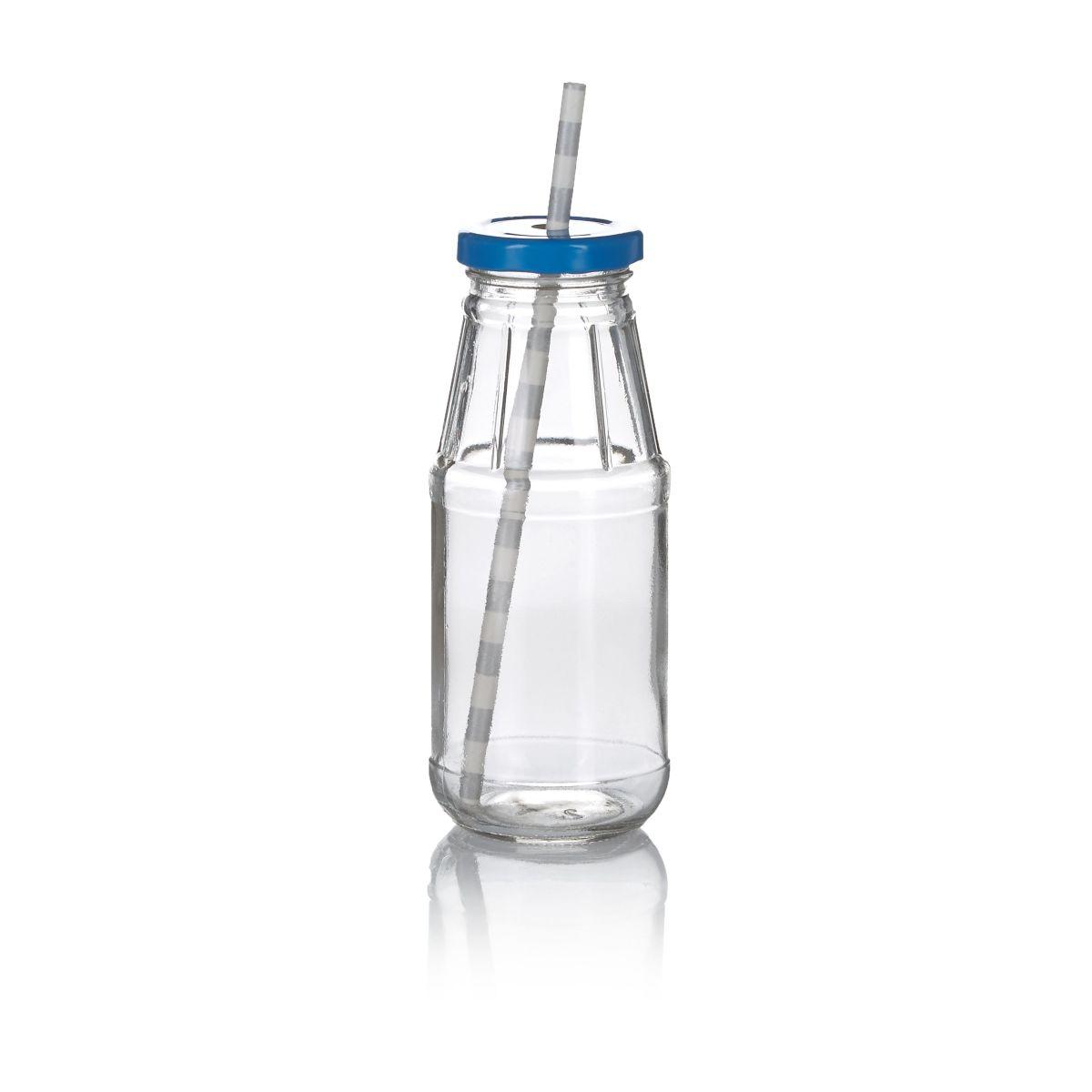 Milchflaschen-Set, 6-tlg. inkl. Strohhalme, mit Deckel, inkl. Strohhalme (Impressionen)