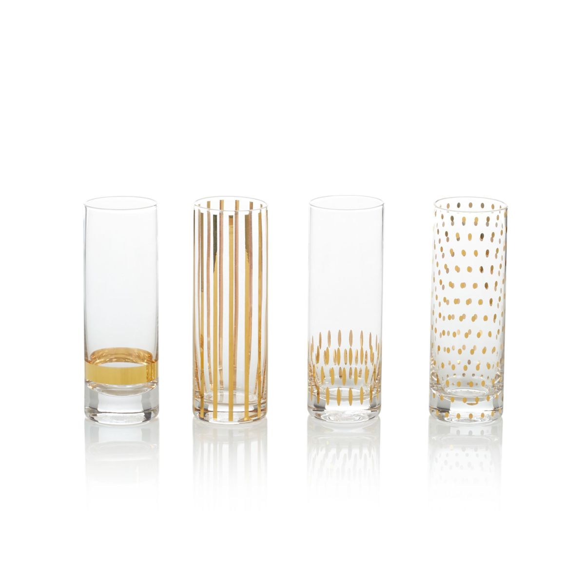 Artikel klicken und genauer betrachten! - Prost! Stoßen Sie an mit diesen handgearbeiteten Gläsern. In unterschiedlichen goldenen Designs, Geschirrspülereignung: Handwäsche empfohlen, Maße: Höhe ca. 15 cm, Ø ca. 5 cm, Gewicht: ca. 0,9 kg. | im Online Shop kaufen