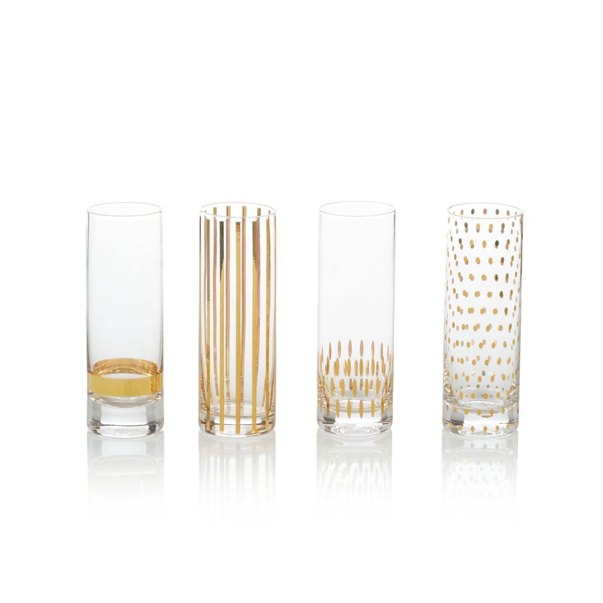 Glas-Set, 4-tlg., goldfarbenes Dessin, edel (Impressionen)