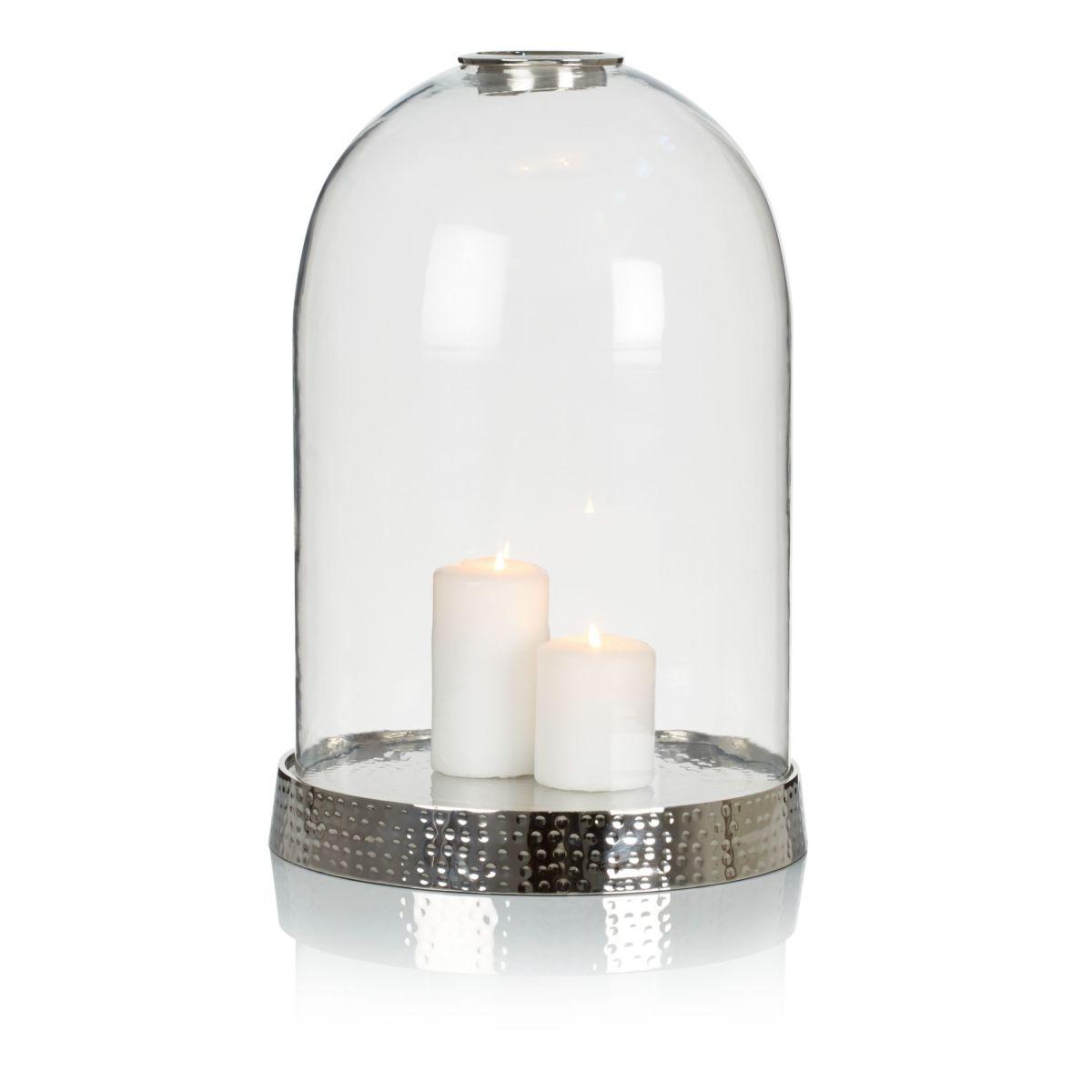 Windlicht, Aluminium, Glas