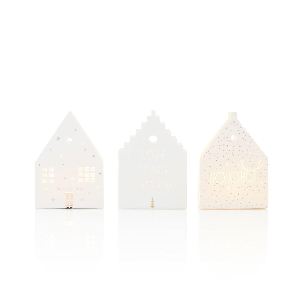 Haus-Lichttüten-Set, 3-tlg., unterschiedliche Designs, Papier (Impressionen)