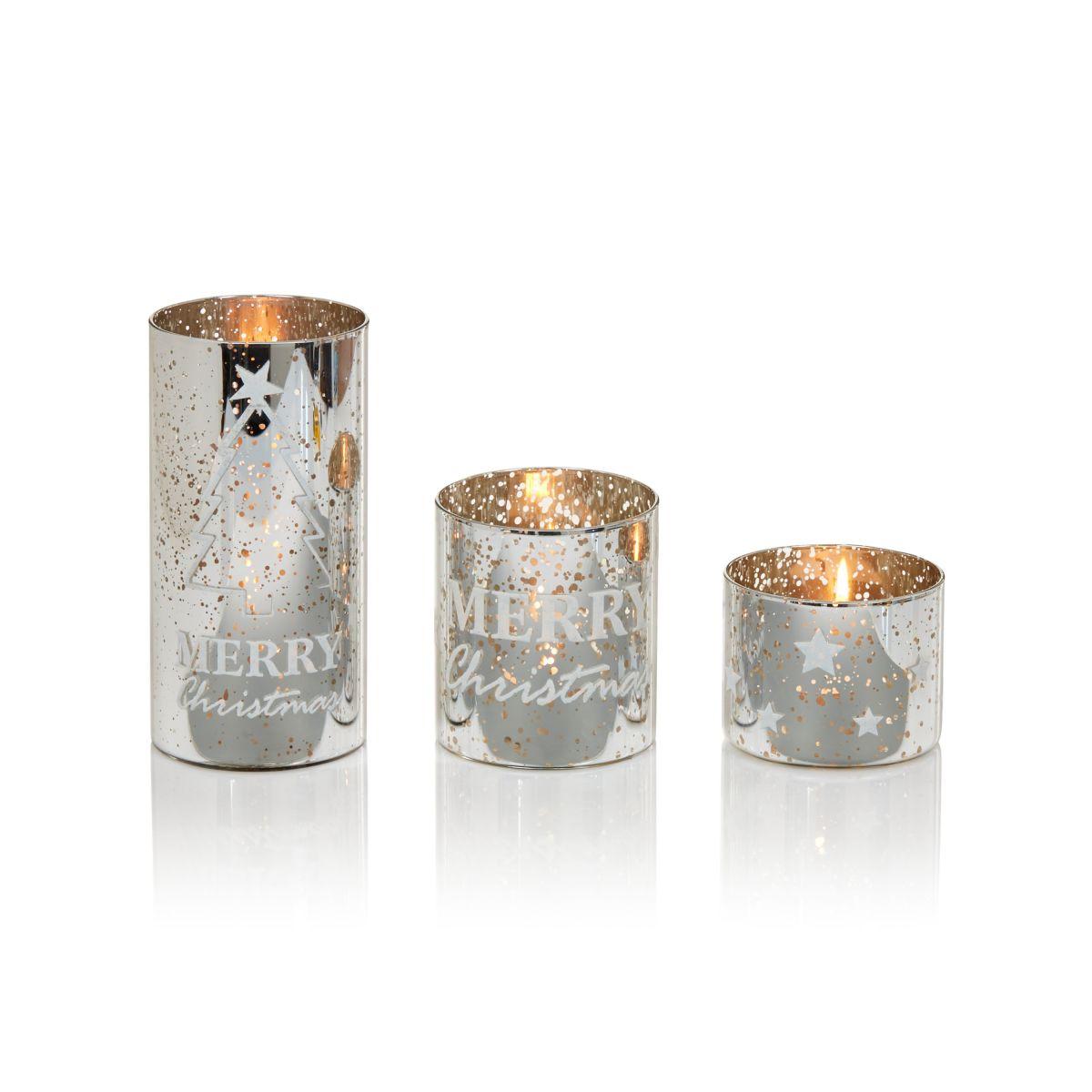 Windlicht-Set, 3-tlg., Sterne, MERRY Christmas, Tannenbäume, Glas (Impressionen)