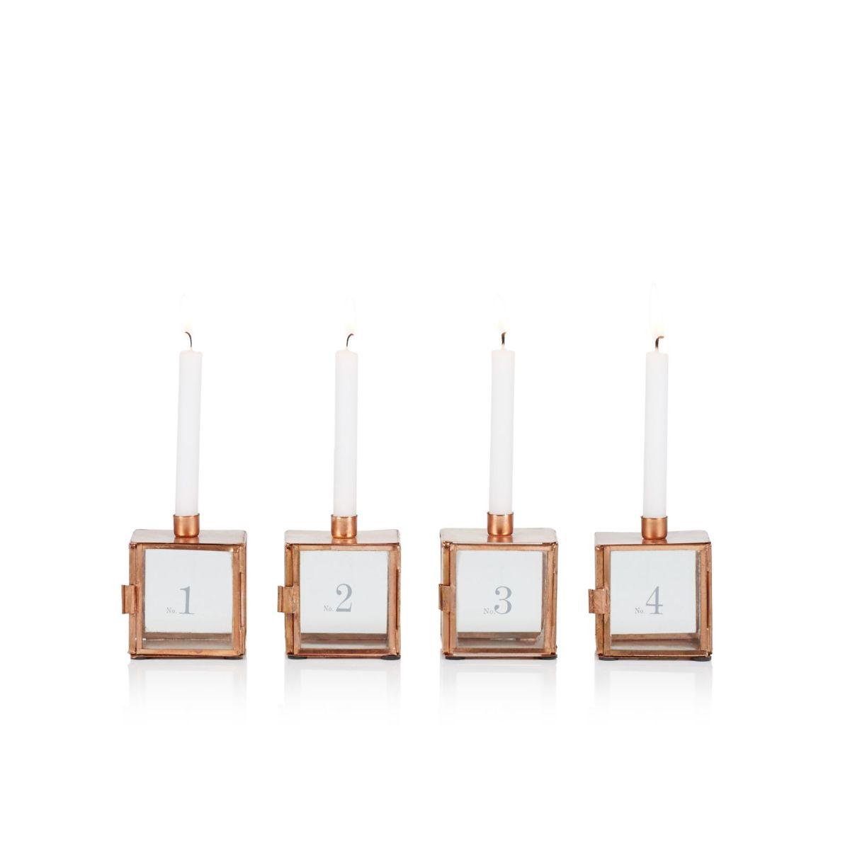 Kerzenhalter-Set, 4-tlg., Metall, Glas (Impressionen)