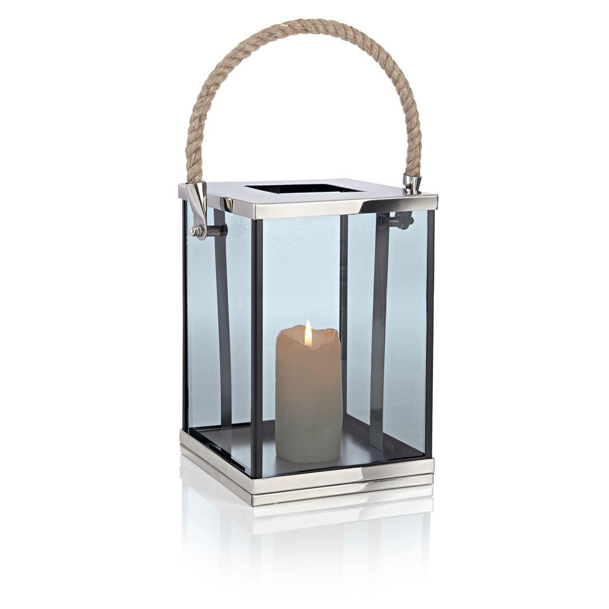 Windlicht, Glas, Edlstahl, Metall, Jute