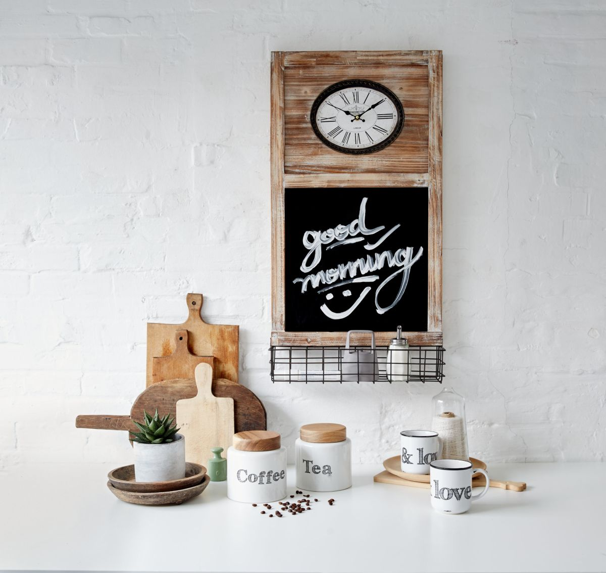 Kaffeedose, steingut / deckel: holz Ø 13 x h 13 cm