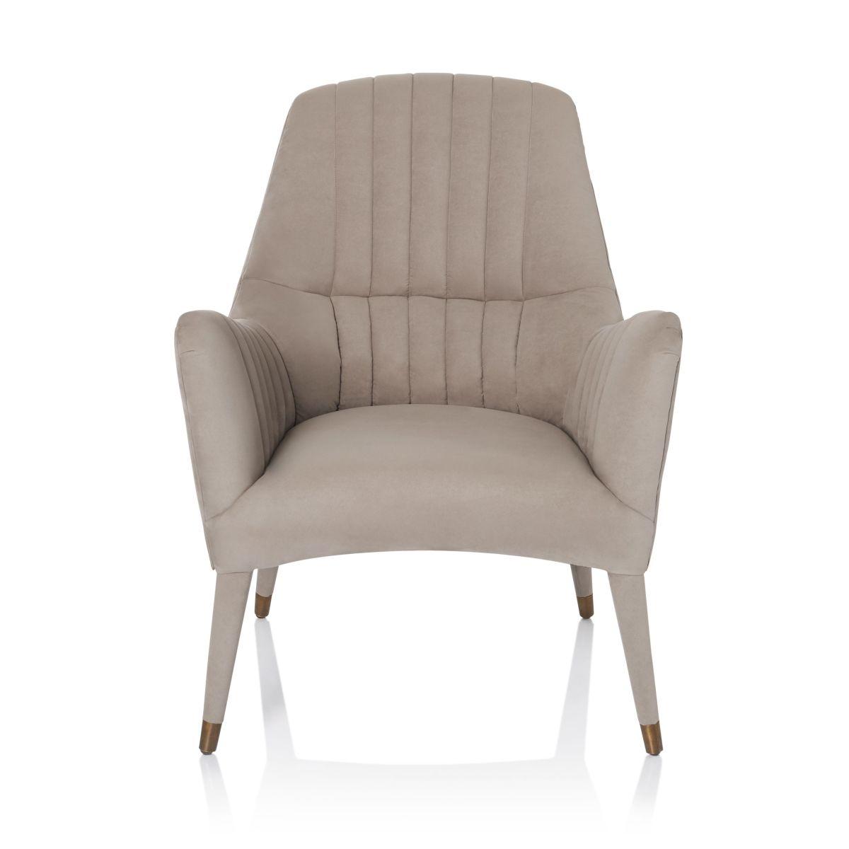 Artikel klicken und genauer betrachten! - Stylisches Sitzmöbel im modernen Retro-Stil. Lieferung erfolgt montiert. Maße: Sitzfläche ca. B 51 x T 54 cm. Sitzhöhe ca. 47 cm. Ca. H 96 x B 84 x T 72 cm, Gewicht: ca. 16,1 kg, Material: Eichenholz, Kupferkappen, Schaumstoffpolsterung, Bezug ( 80% Polyester, 20% Polyurethan). | im Online Shop kaufen
