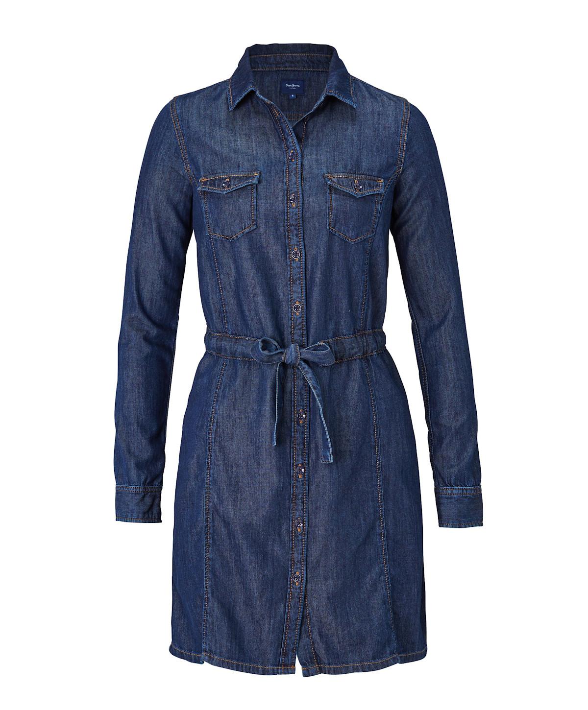 Artikel klicken und genauer betrachten! - Jeanskleid im Hemdblusen-Style. Raw-Denim-Optik mit Kragen, durchgehender Knopfleiste, Pattentaschen auf der Brust und Tunnelzug in der Taille. Gesamtlänge: ca. 87 cm, Gewicht: ca. 0,5 kg, Material: 69% Baumwolle, 31% Lyocell. | im Online Shop kaufen