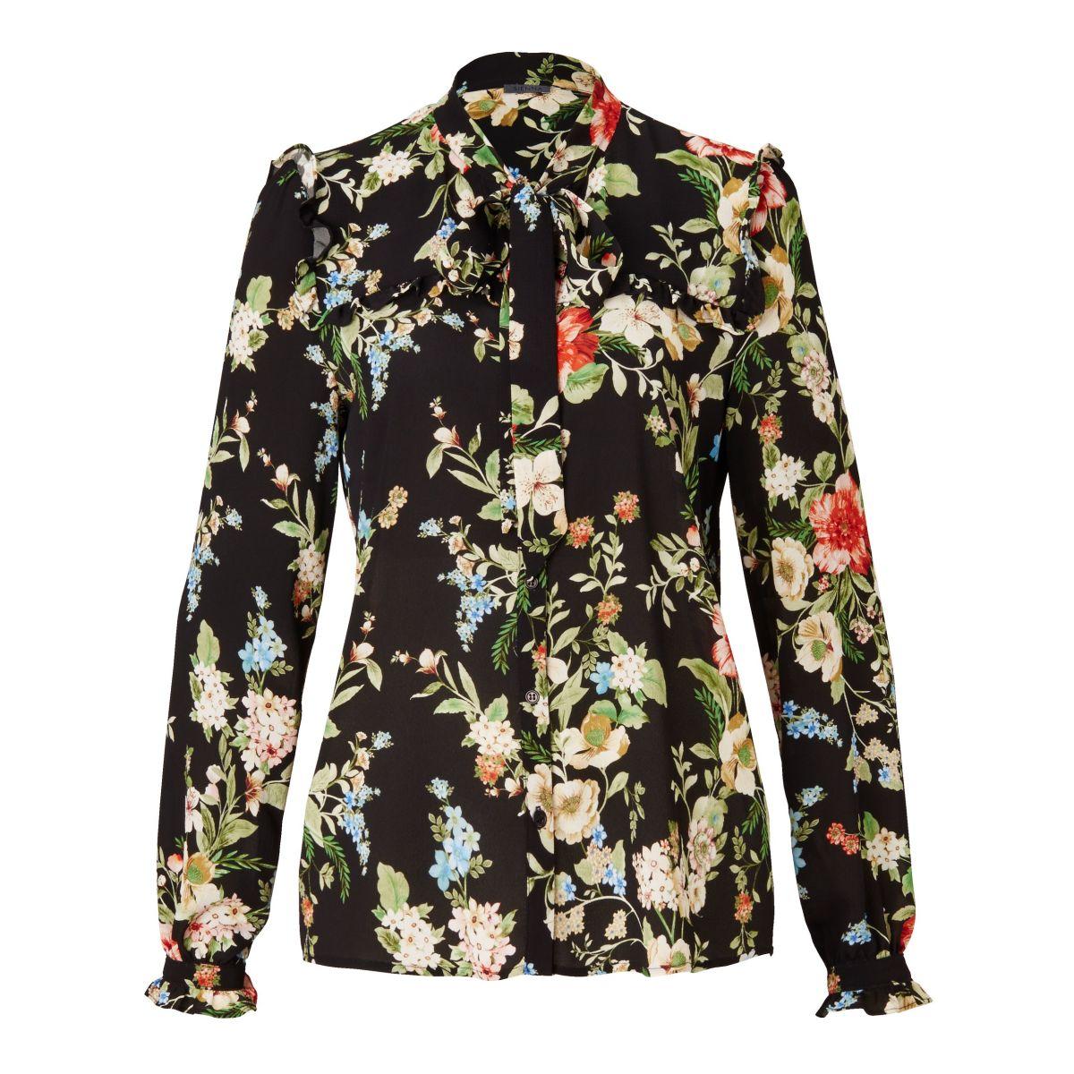 Artikel klicken und genauer betrachten! - Zarte Bluse im Romantik-Look. Mit Blumenprint, Schluppe, gerüschter Passe vorn und hinten, Knopfleiste sowie Rüschen und Bindebändchen an den Armabschlüssen. Waschempfehlung: 30 °C Schonwäsche, Gesamtlänge: ca. 66 cm, Referenzgröße: Gemessen bei Größe 36, Material: 100% Polyester. | im Online Shop kaufen