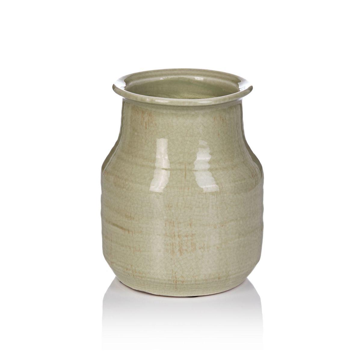 Vase, braune Einschlüsse, Steingut