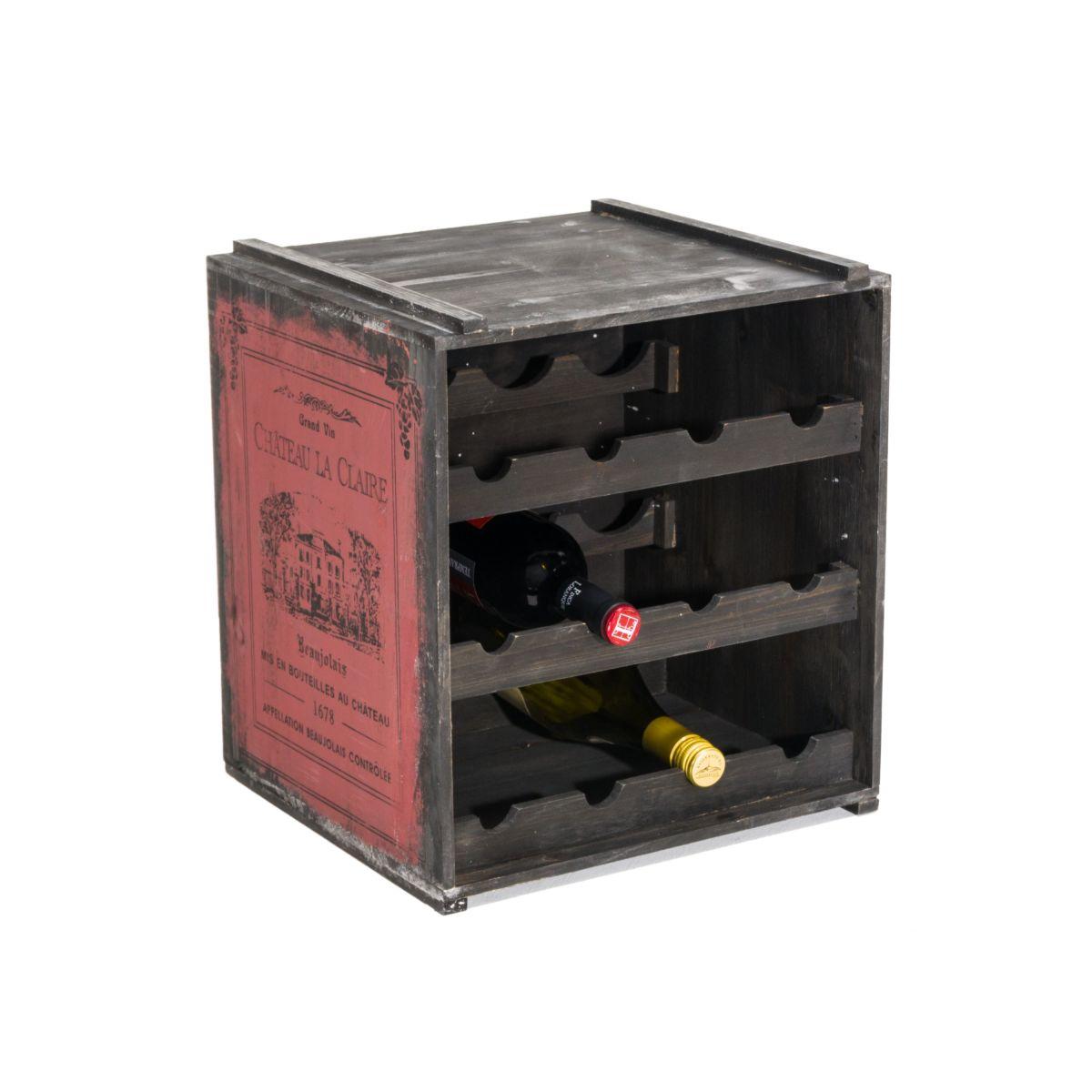 Weinregal Claire Stapelbar für 12 Flaschen Shabby Chic Holz ca. B36 x T32 x H39 cm