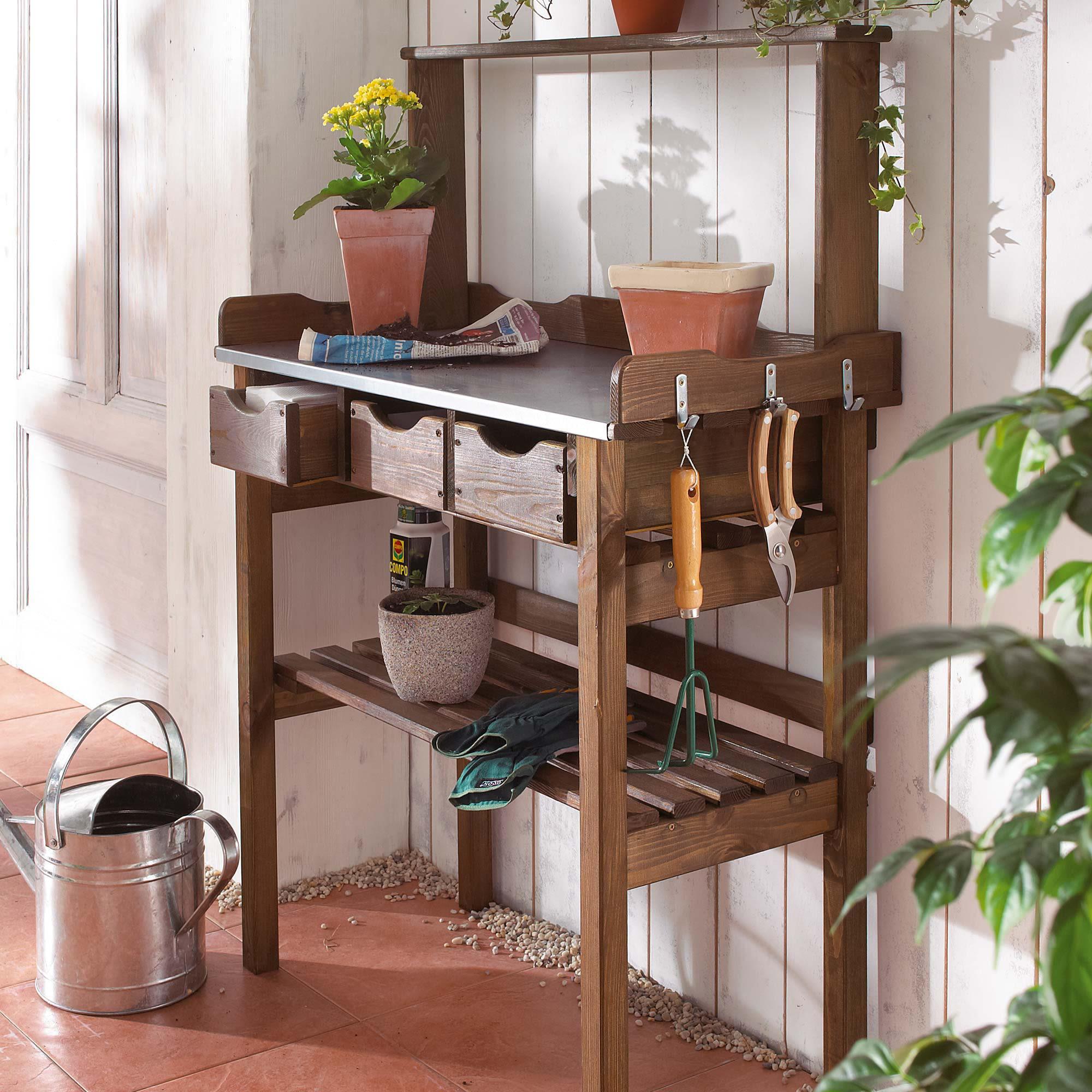 garten-arbeitstisch, aus holz und metall, verzinkte metall