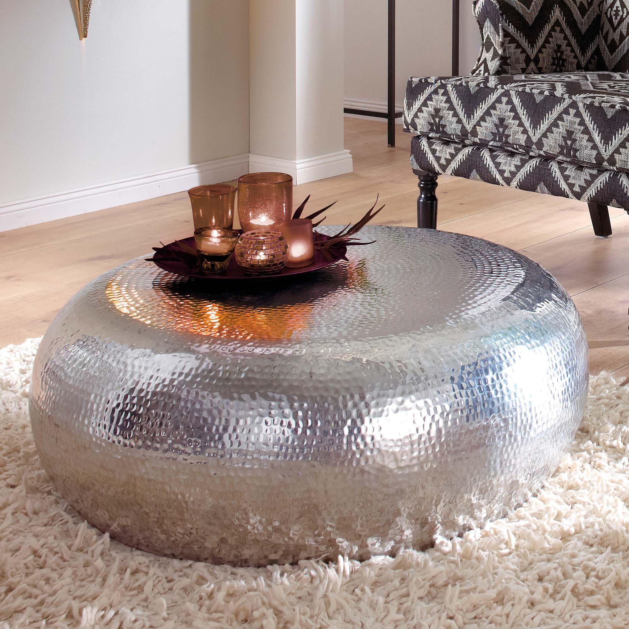 Couchtisch Steel Aus Alu Silber Metall Modern Wohnzimmertisch
